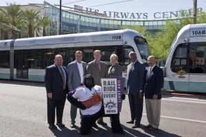 Phoenix Suns Gorilla helps unveil the Rail Ride logo