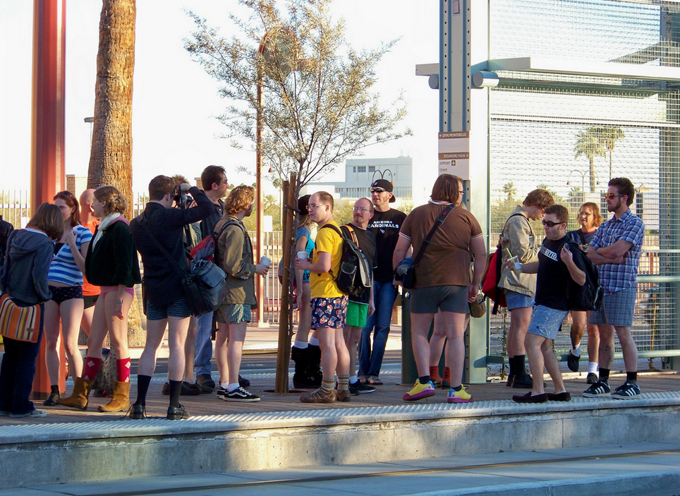 No Pants AZ Light Rail Ride